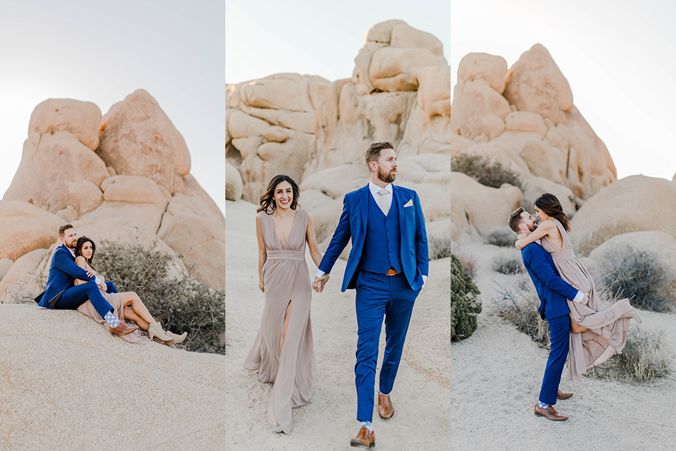 engagement style images with the bride in a taupe colored gown and the groom in a deep bold blue suit