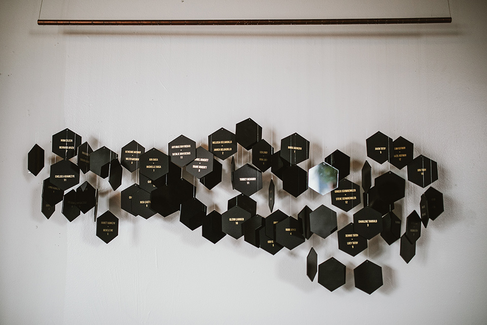 Moniker-Warehouse-Wedding-geometic-honeycomb-decor