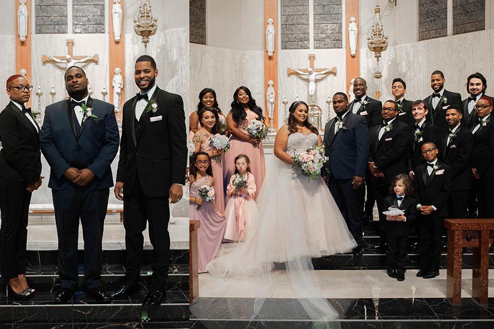 groomsmen in black tuxedo and groomslady in a black womens tuxedo