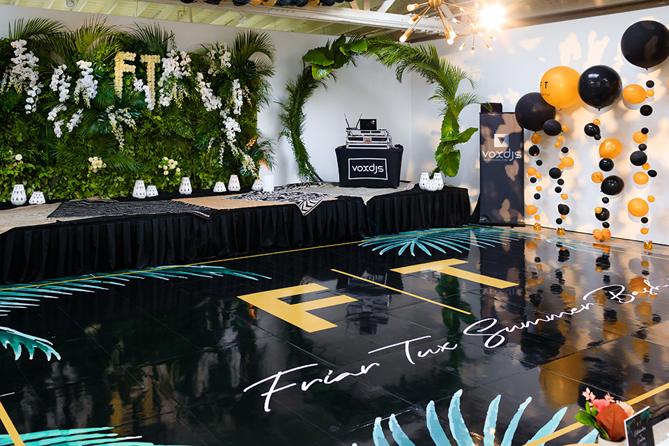 Friar Tux Summer Bash dance floor and decor in a chic boho palm springs style