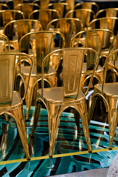 Friar Tux Summer Bash decorative gold chairs