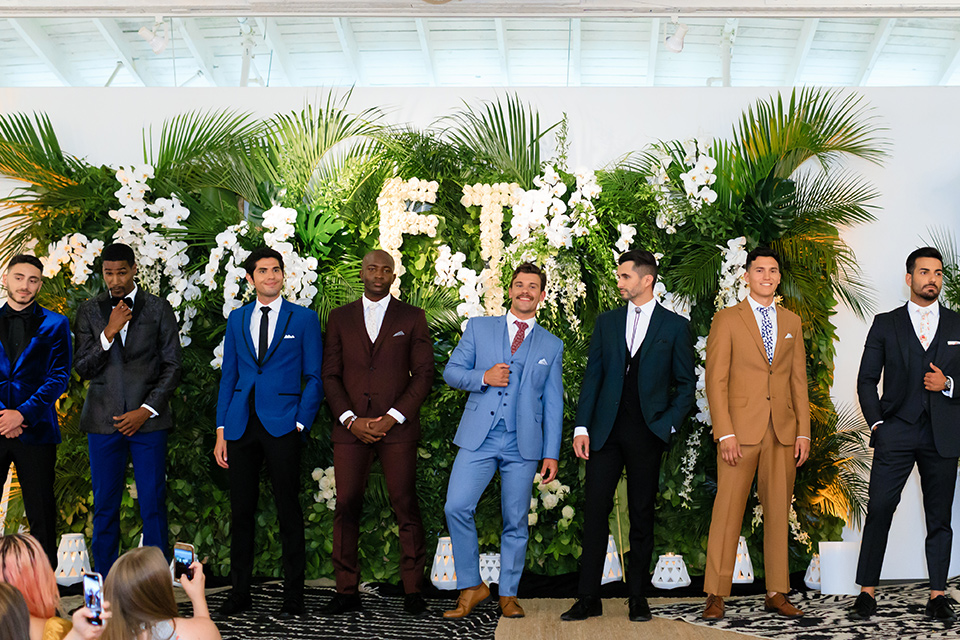 Friar Tux Summer Bash models in first looks of styles like a café brown suit, light blue colored suit and more