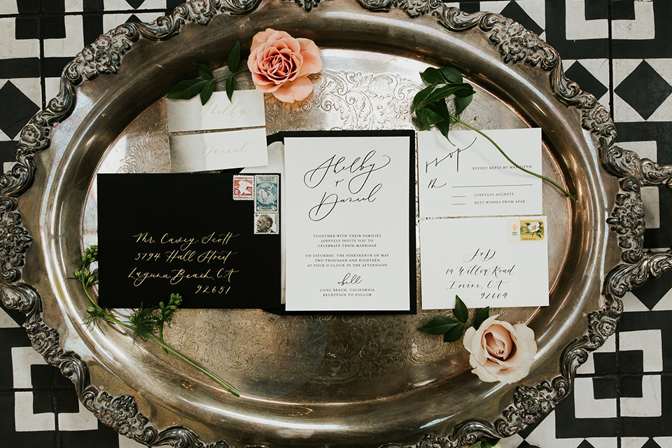 white invitations and black envelopes