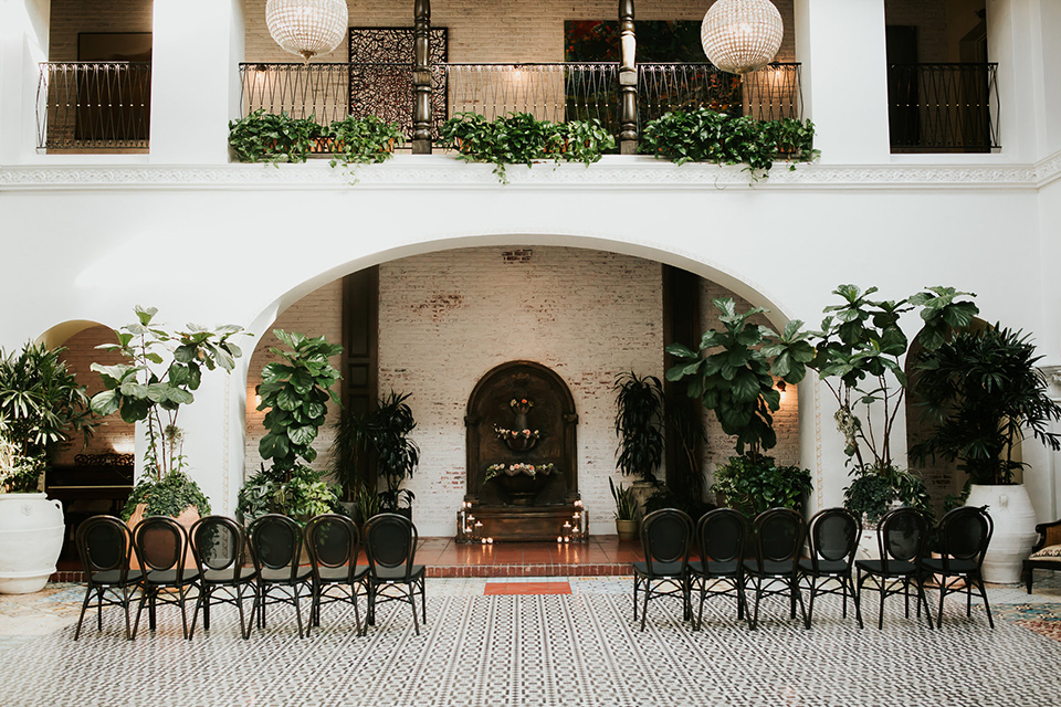 modern venue with Spanish feel with black and white tile flooring