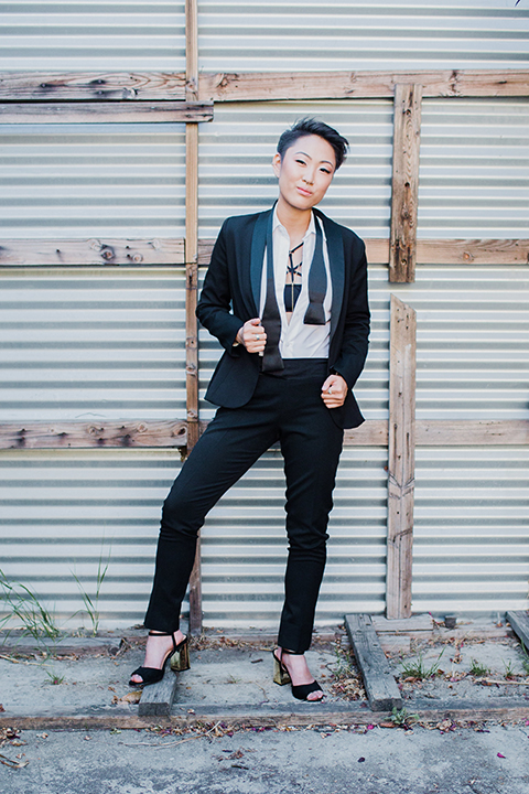 Los-angeles-same-sex-wedding-shoot-bride-black-womens-tuxedo-with-tie-untied