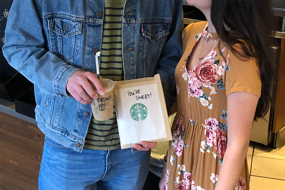 "promposal: guy spelled out prom on starbucks drink and bag of cookies says ""you're sweet"""