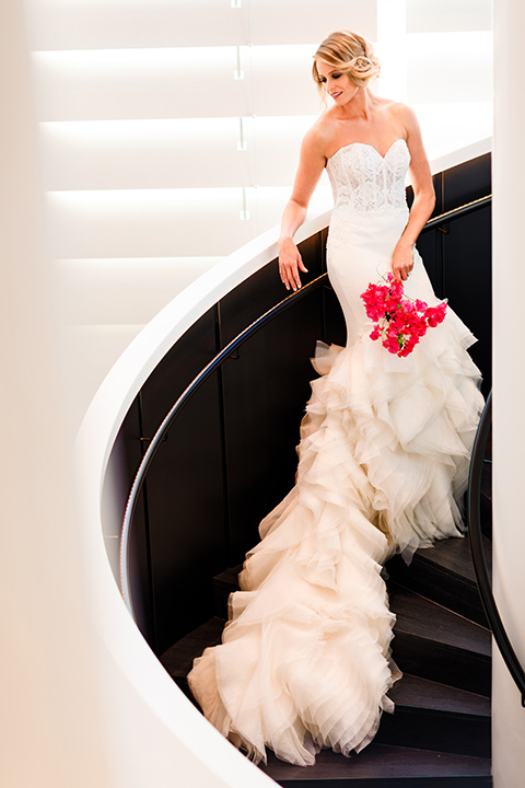 Intercontinental-DTLA-shoot-bride-standing-on-steps-bride-in-a-mermaid-gown