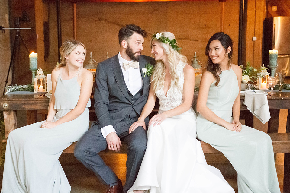 luce-loft-bridalparty-bride-in-a-fit-and-flare-gown-with-straps-groom-in-a-charcoal-suit-with-champagne-bow-tie