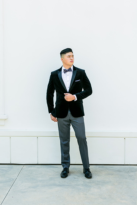 prom-looks-black-velvet-look-with-grey-tuxedo-pants-and-a-patterned-bow-tie