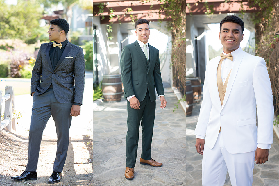 various-styles-of-menwear-one-model-in-a-black-paisley-tuxedo-with-a-gold-bow-tie-another-in-a-dark-green-suit-and-another-in-a-white-dinner-jacket-with-gold-accessories