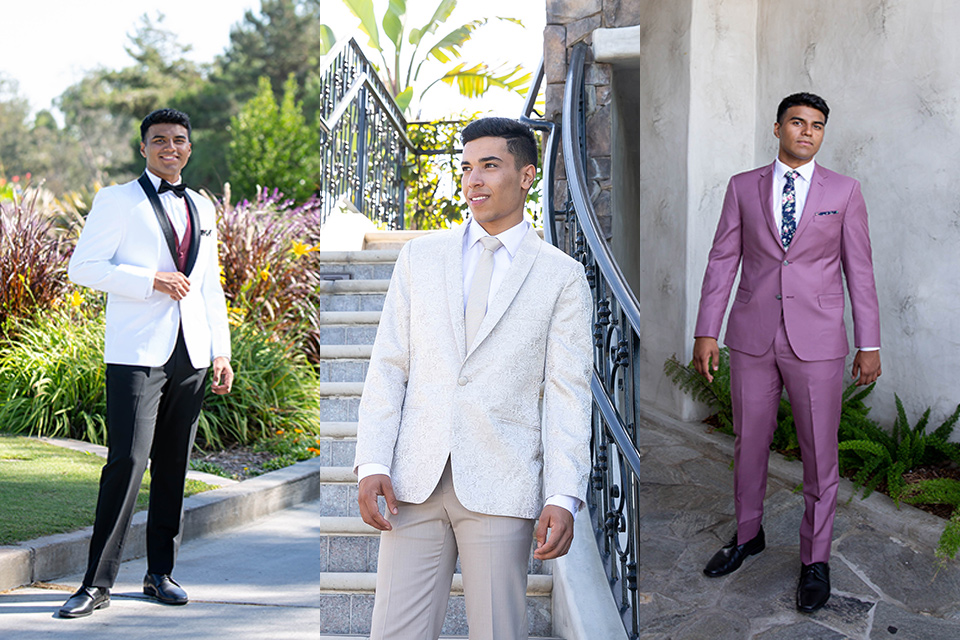 various-menswear-styles-one-model-in-a-white-coat-with-black-trim-and-burgundy-accessories-one-model-in-an-ivory-paisley-tuxedo-with-tan-pants-and-the-last-model-in-a-rose-pink-suit-with-floral-accessories
