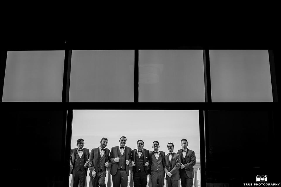 Hyatt-San-Diego-wedding-groomsmen-in-black-and-white