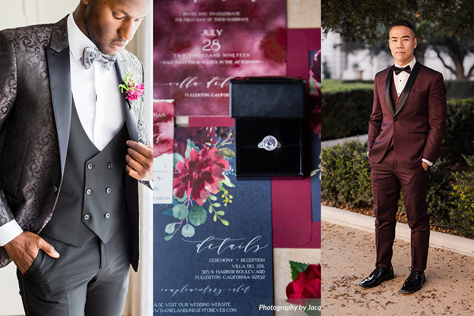 black tie optional wedding attire with male guest wearing black paisley tuxedo and other wearing a burgundy tuxedo