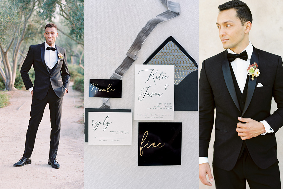 black tie wedding attire with invitations and male guests wearing simple black tuxedos and accessories