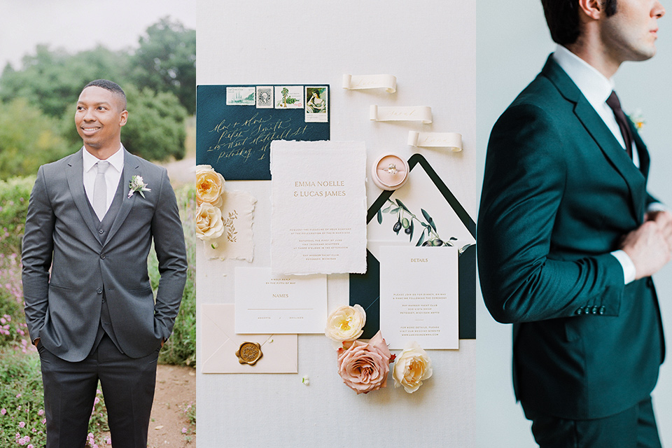 cocktail wedding attire with invitations with male guests wearing dark grey suits and another in dark green