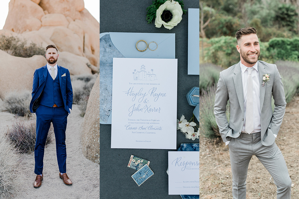 semi formal wedding attire with invitations and one male guest in cobalt blue suit and other in grey suit