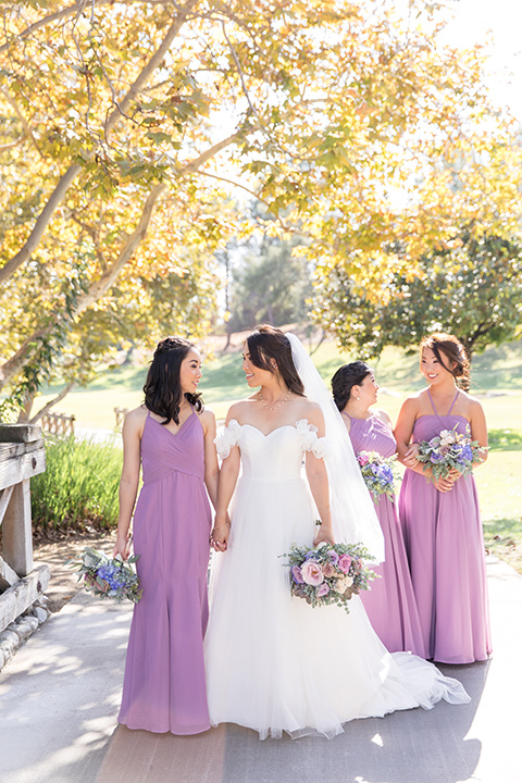 bridesmaids dresses in lilac colors with different necklines