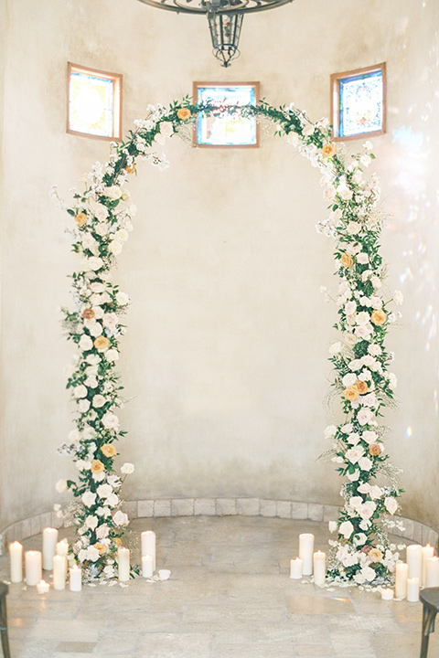 floral arch at ceremony
