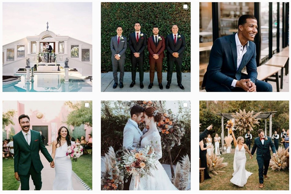 pinterest page of friar tux for wedding inspiration