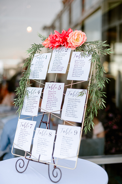 the table number station with pink and gold flowers