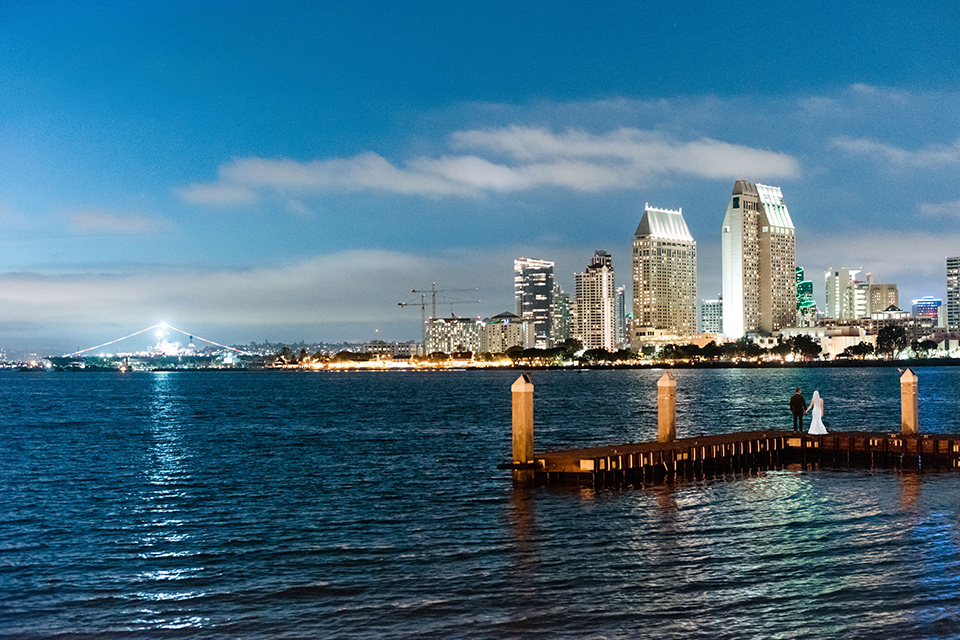 the San Diego cityscape with the ocean