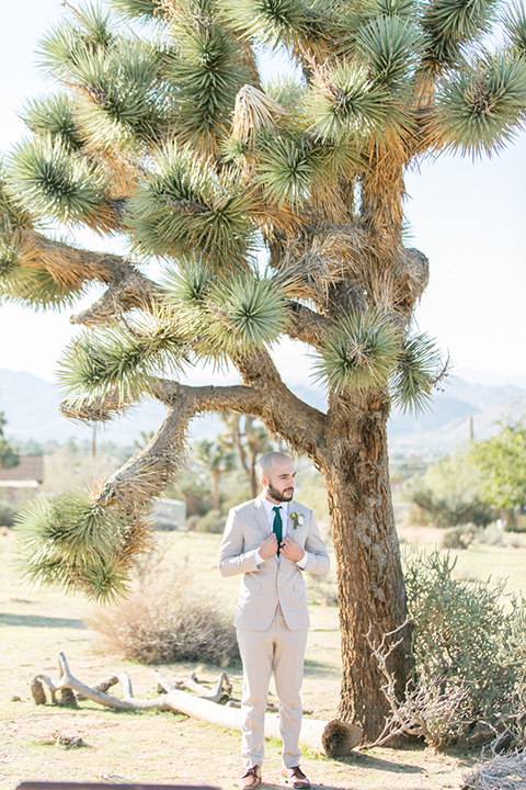 groom in a tan notch lapel suit with a teal blue long tie