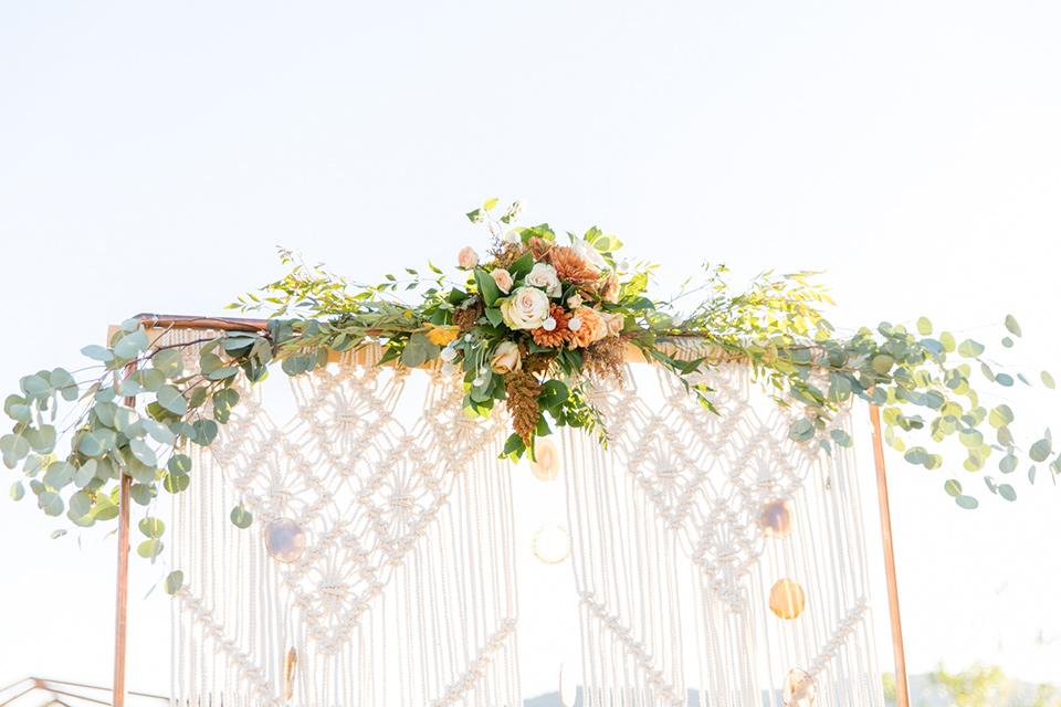 macramé ceremony arch detail