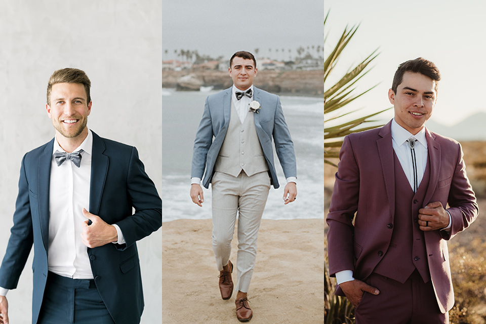dusty-slate-blue-suit-with-grey-velvet-bow-tie-light-blue-suit-with-tan-pants-and-dusty-rose-suit-with-bolo-tie