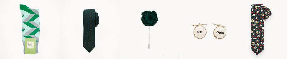 green-striped-socks-hunter-green-floral-tie-hunter-green-lapel-pin-fun-studs-and-cufflinks-green-floral-tie