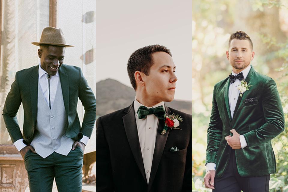 green-suit-with-grey-vest-and-bolo-tie-green-velvet-bow-tie-and-green-velvet-tuxedo