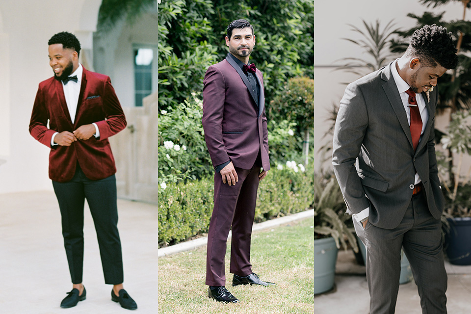 red-velvet-bow-tie-burgundy-tuxedo-charcoal-suit-with-red-tie