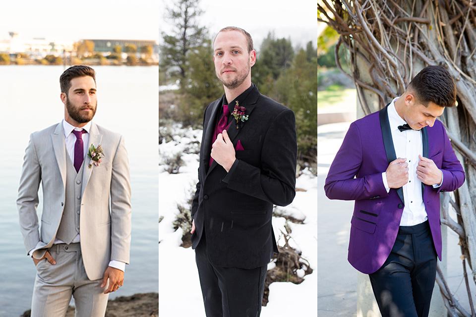 tan-suit-with-a-purple-tie-an-all-black-suit-with-a-purple-tie-and-vest-and-a-purple-shawl-tuxedo