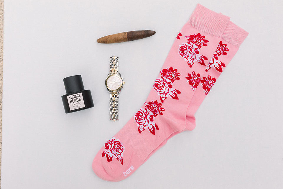pink groom socks