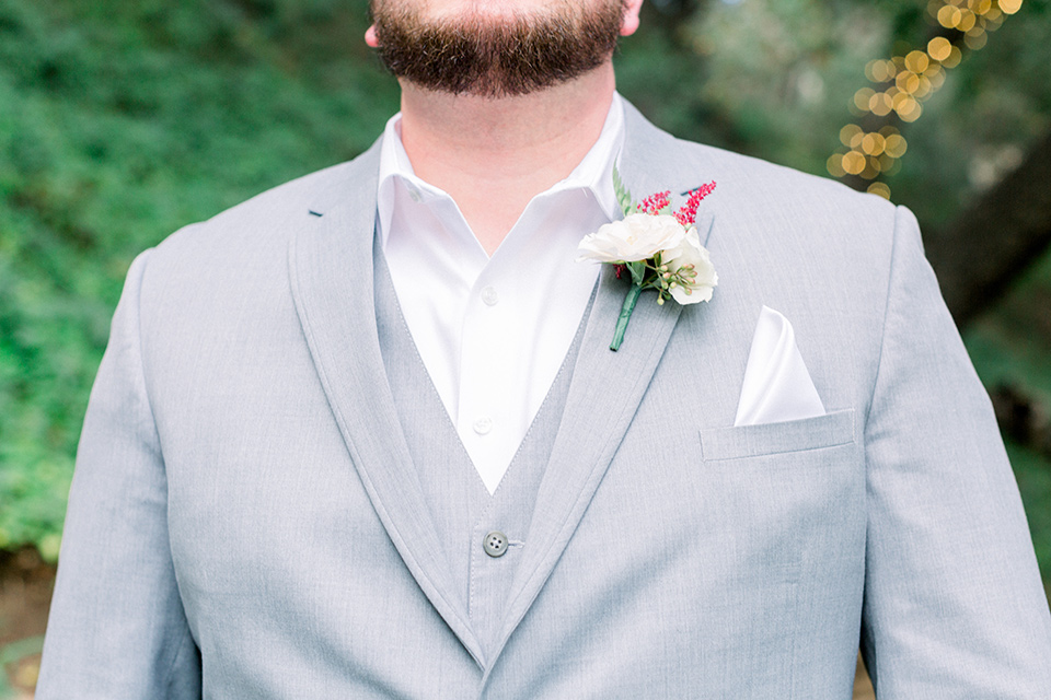 light grey suits with no tie and pocket square