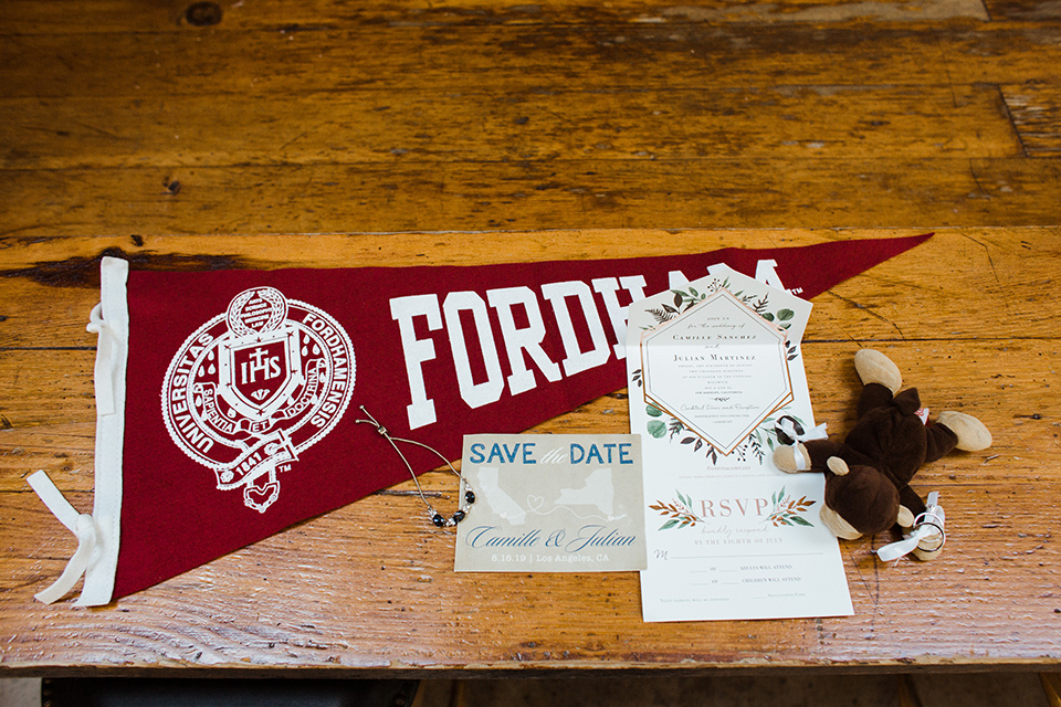 invitations with their college logo on them