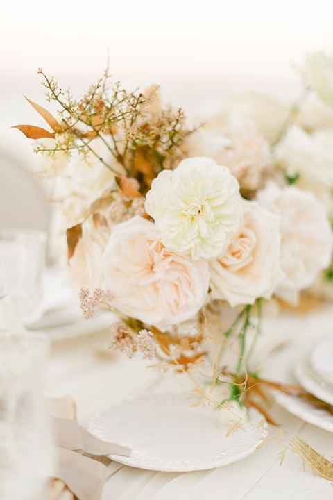 white and pink florals on a white table