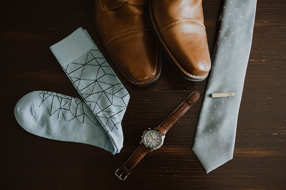 """="""" brown shoes and dusty blue long tie"""
