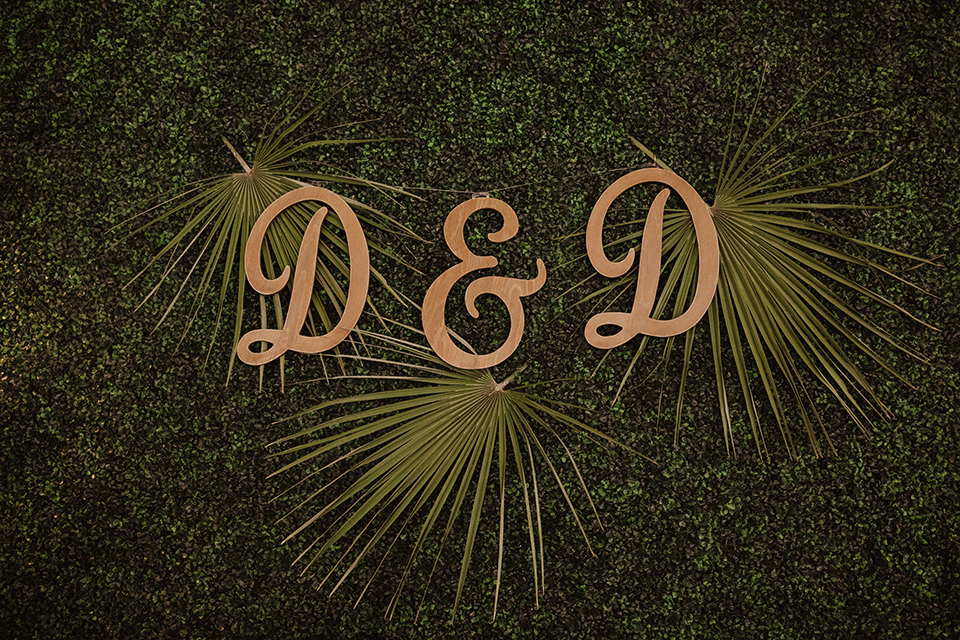 """="""" wooden initials on ivy"""