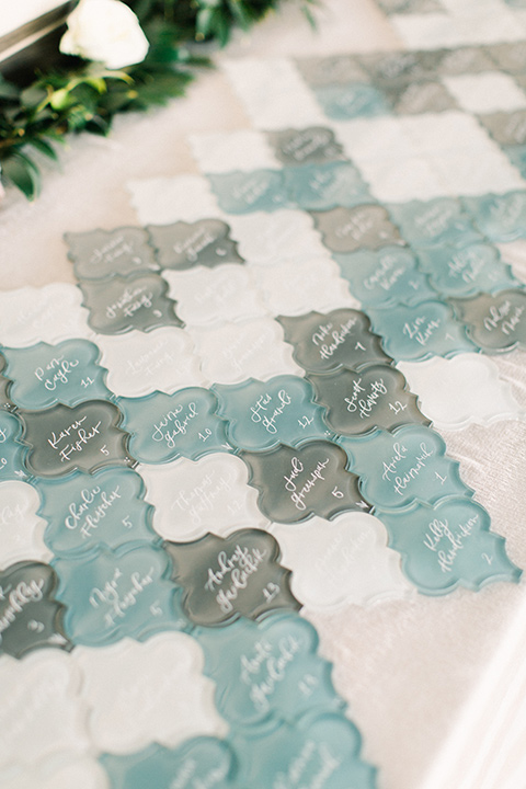 blue tile glass table cards