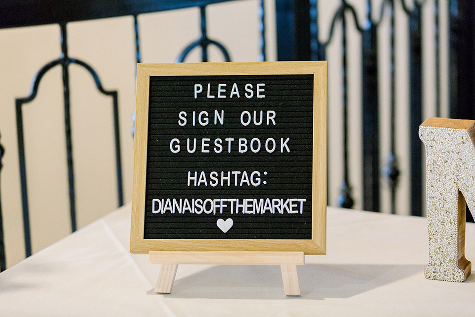 letterboard details to sign guest book