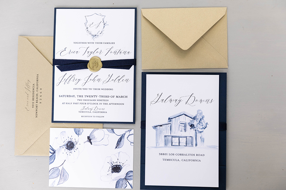 gold and navy invitations