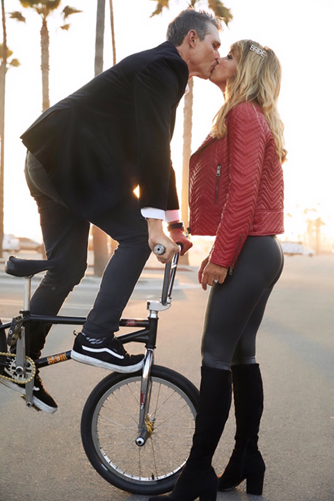 Pro BMX rider wears a black velvet tuxedo to engagement photos