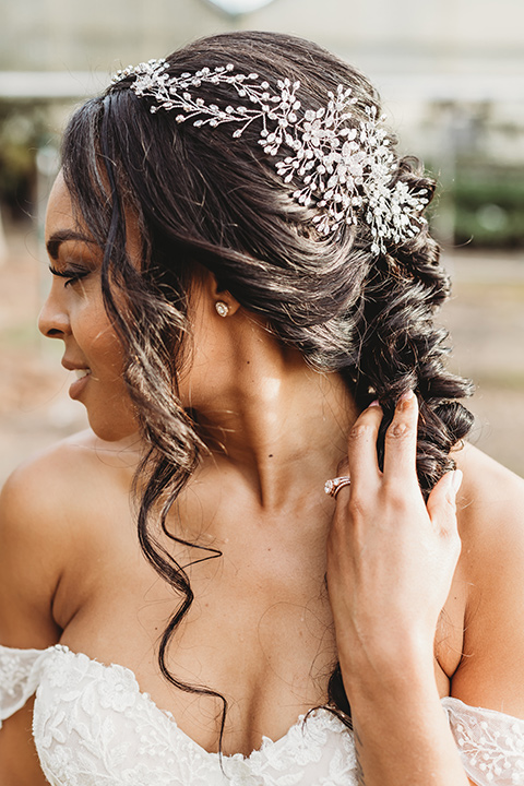 bridal hair with a braid and headpeice
