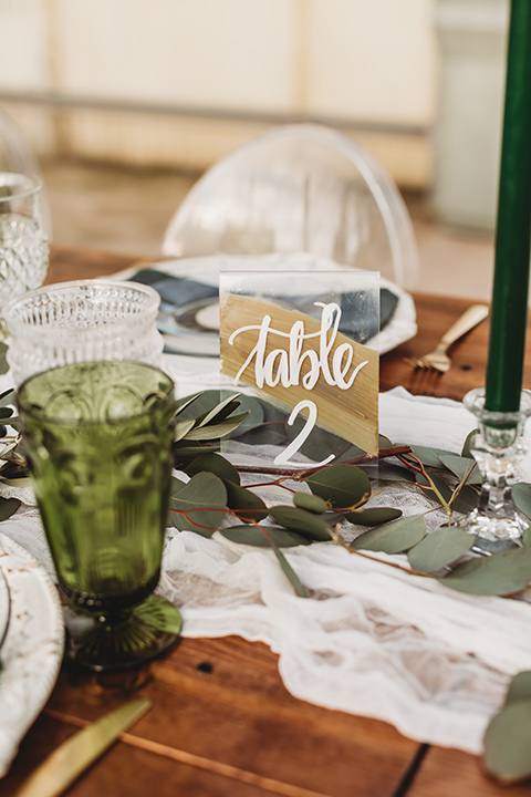reception décor at the tables