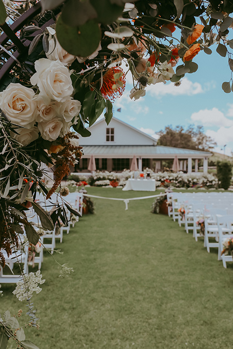 ceremony décor and chairs