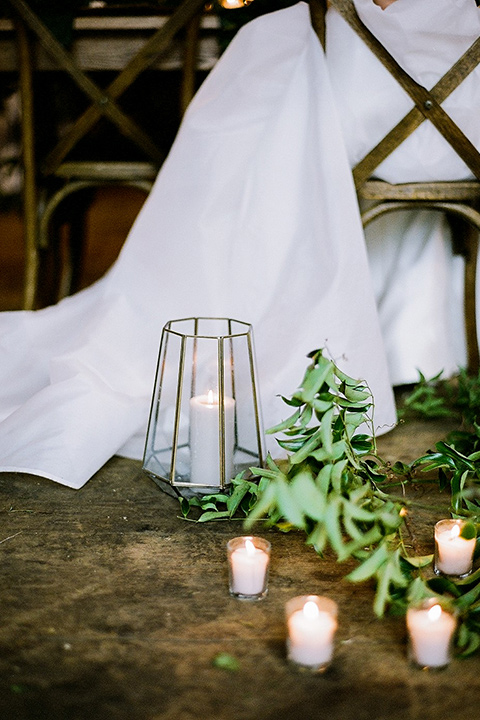 white linen and candles