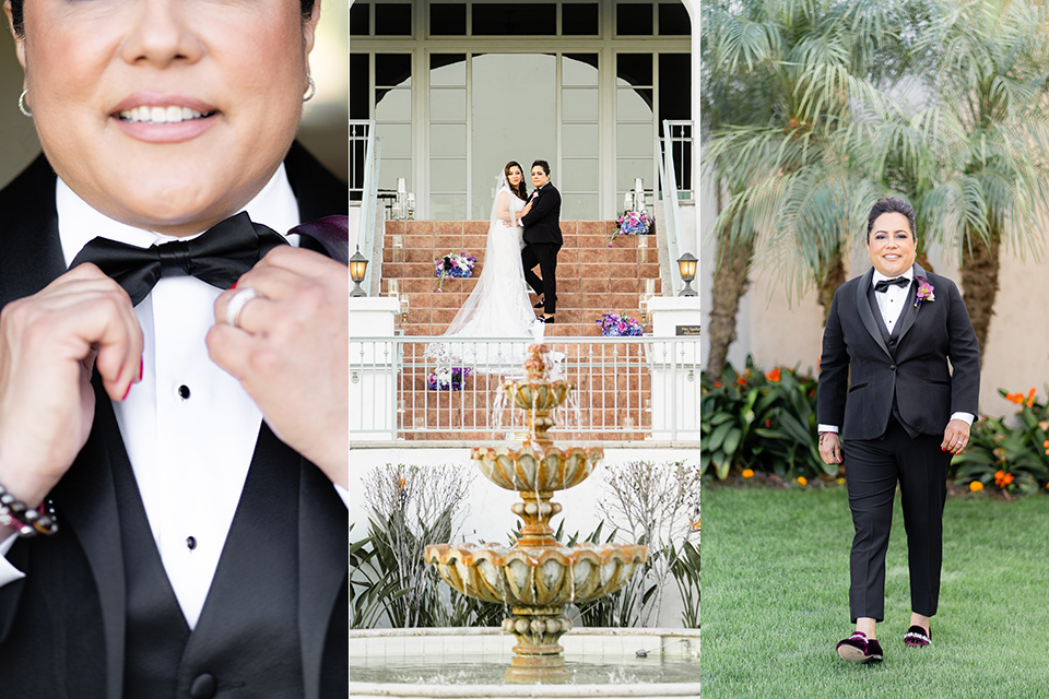 brides getting married with one in a traditional white ballgown and the other in a black tuxedo with a black bow tie and purple boutonnière