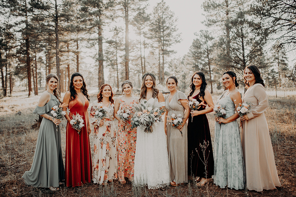 bridesmaids in soft pastel colors in different patterns and designs