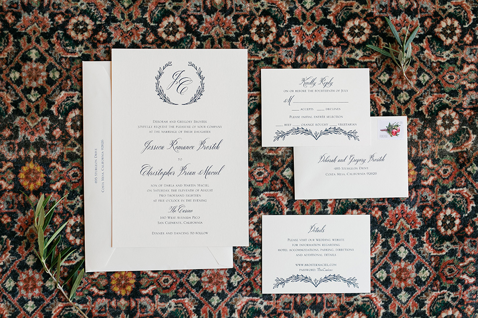 white invitations with calligraphy