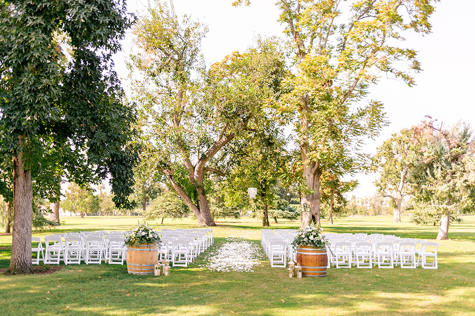 garden ceremony space with white chairs